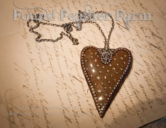 Handmade Jeweled Rusted Heart Pendant and Necklace