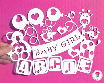Baby Girl paper cut svg / dxf / eps / files and pdf / png printable templates for hand cutting. Digital download. Commercial use ok