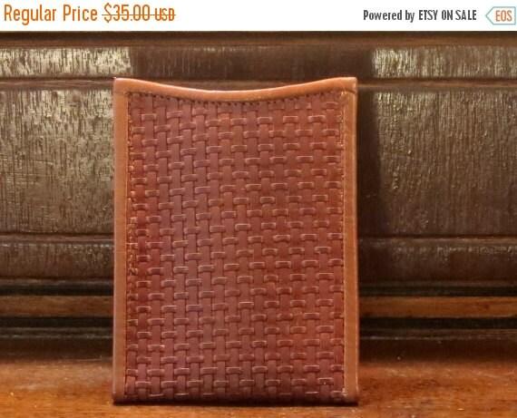 Football Days Sale Cole Haan Cognac Brogano Woven Leather Clip On Wallet- EUC