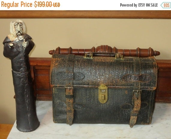 Football Days Sale Antique Black Walrus Hide Triple Gusset 1930's Briefcase- Thankfully Rare- Portion Of Proceeds Will Be Donated To WWF Ado
