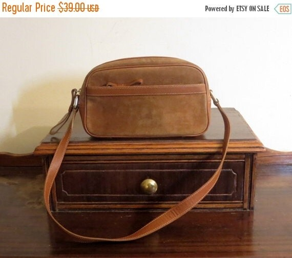 Football Days Sale Coach Brown Suede And British Tan Leathr Trim Handbag Style No. 9439- VGC