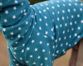 Organic Cotton Knit Starry Teal Jumper for Italian Greyhounds (limited Edition)