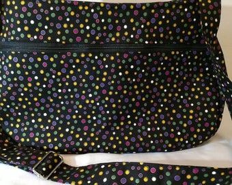 Black and Multi-color Polka Dot Daytripper Shoulder Bag/Messenger Bag Shoulder/Handbag