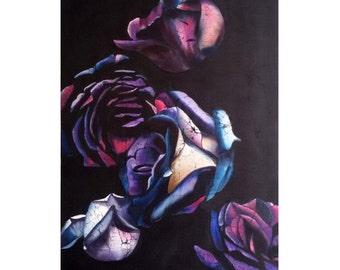 Roses on black, original painting, batik art, silk painting, flowers on silk, wall decoration
