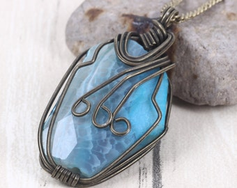NATURAL Agate Necklace Aquamarine Ocean Necklace Charms Beach Jewelry Blue Agate Wire Wrapped Irregular Stone Pendants Necklaces Christmas
