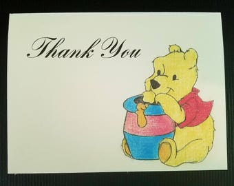 Winnie the Pooh Thank You Cards with Honey Jar, Handmade/Drawn, Set of 10, New Baby/Shower/Birthday Thank You cards
