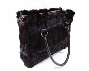 Brown rabbit fur bag, Woman handbag F501