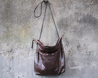 Brown Python Leather Cross Body Bag , Slouchy Leather Shoulder Bag , Soft Leather Clutch Bag