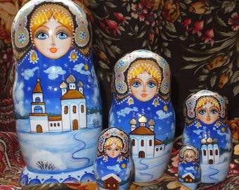 Russian doll Matryoshka doll nesting babushka Christmas winter handmade