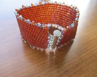 Red Hex Peyote Bracelet