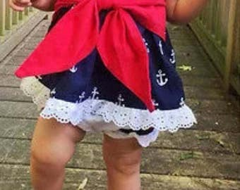 Anchor Romper Set-Girls Anchor outfit-Nautical baby clothes-New Baby Gift-Red White and Blue Baby Girl-6-9M Baby Girl Outfit