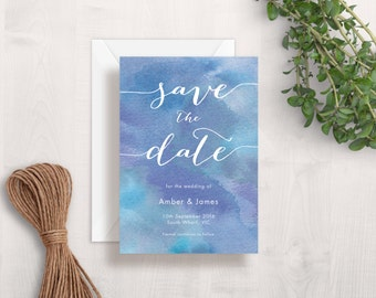 Blue Watercolour Save The Date Wedding Card | Printable Save The Date | Elegant Save The Date | Watercolor Save The Date