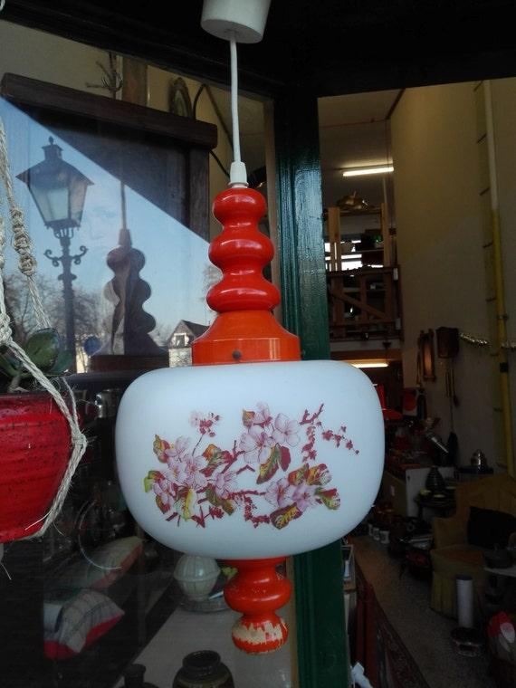 Wood and Glass retro Orange lamp