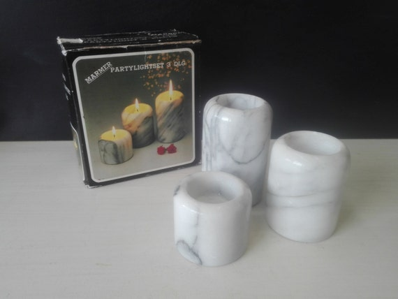 Marble candle holders, set of three