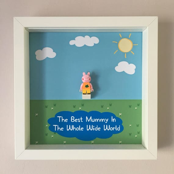 Mummy Peppa Pig Minifigure Frame, Mum, Gift, Geek, Box, Birthday, Mum, Anniversary, For Him, Lego, Comic, For Girl