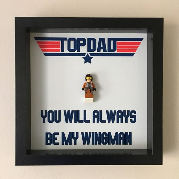 Top Gun Fathers Day Minifigure Frame, Mum, Gift, Geek, Box Frame, Friends, Dad, Idea, Lego, Framed, Birthday, For Him, Frame, Frames