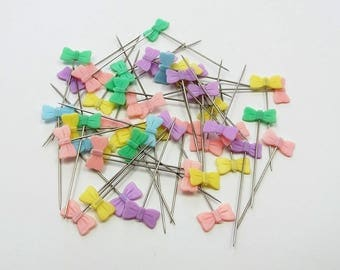 50 sewing pins, colored bow pins, decorative pins, craft pins, sewing gift, sewing accessories, sewing notions, dress pins, sewing tools