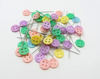 Colored button pins, sewing pins, 50 decorative pins, fabric pins, craft pins, sewing accessories, dressmaking pins, cute pins, corsage pins