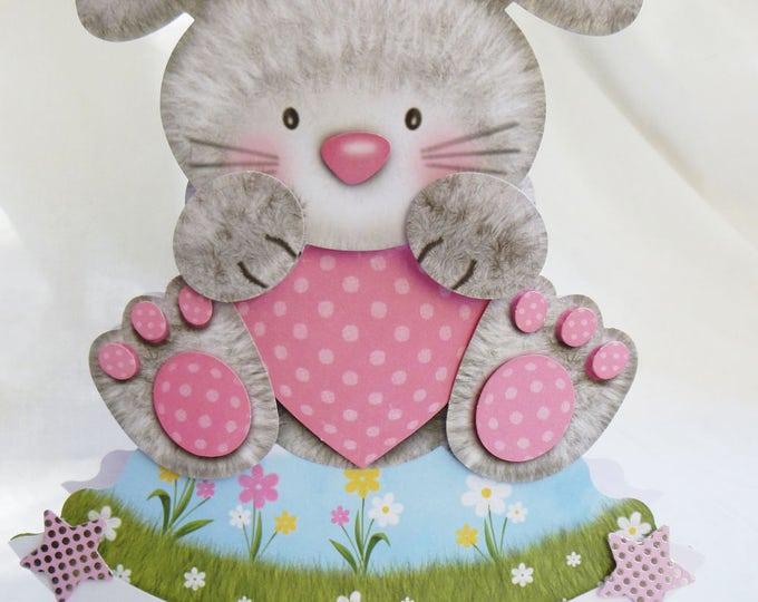 A Rocker Card, Wobble Head Card, Birthday Card, Greeting Card, 3D Decoupage, Bunny Rabbit, Girl or Boy, Any Age, Son, Daughter,