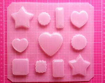 Basic Shape Mold, Resin Star Mold, Square Mold, Plastic Rectangle Mold, Heart Shape Mold, Scalloped Shape, Round Ruffle Shape, Jewelry Mold