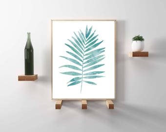 Botanical, tropical leaf, blue watercolor print. Nature & garden poster in greens and blues. Scandinavian, minimal and hygge design, decor.