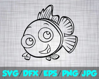 Nemo SVG Iron On Decal Cutting File / Clipart in Svg, Eps, Dxf, Png Jpeg for Cricut & Silhouette Mickey Mouse Baby Dory Crush Finding Nemo