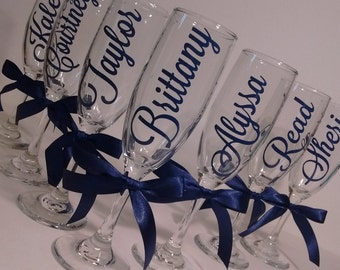 Bridesmaid Glasses, Personalized Flutes, Bridesmaid Gifts, Maid of Honor, Bridal Shower, Wedding Party