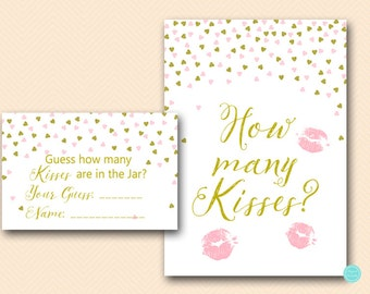 Gold How many kisses, guess how many kisses, how many kisses game, how many kisses in the jar, Bridal Shower Games Printable BS488 tlc488P