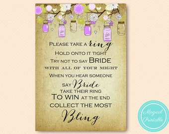 Purple Mason Bridal Shower Games, Dont Say Bride Game, Don't Say Game, Put a Ring on it Game, Bridal Shower Game, Shower Games Download BS49