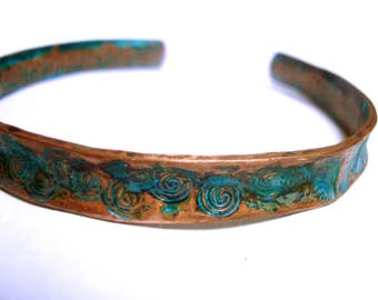 Rustic copper spiral stamped oxidised bangle