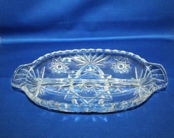 Vintage Anchor Hocking EAPC 2 part Relish Dish Pitcher Star of David Pattern circa 1960 Relish Tray Made in the USA Early American Prescut