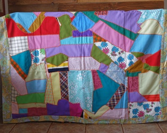 Vintage handmade Quilt - Patchwork Quilt Handmade - Polyester & Cotton Fabrics Quilt - 1970s - Retro