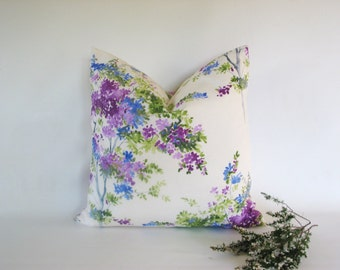 Cotton ~ floral print ~ cushion cover ~ white ~ green ~ Lilac ~ olive ~purple ~ Lavender ~ flowers ~ leaves ~ garden ~ nature