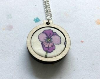 Liberty print Mini hoop necklace, Liberty fabric, fabric necklace, hoop necklace, mothers day, gift for mum, Pansy necklace, Purple pansy