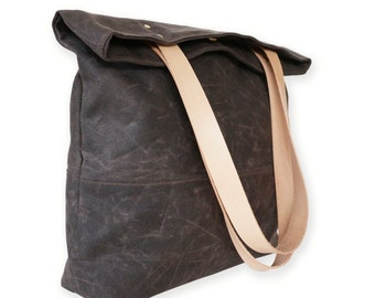 Waxed Canvas Tote Bag Leather Straps, Waterproof Canvas, Shoulder Bag