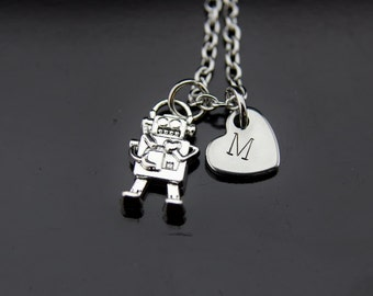 Silver Robot Charm Necklace Silver Robot Heart Charm Necklace Silver Robot Charm Silver Necklace Robot Jewelry Personalized Necklace