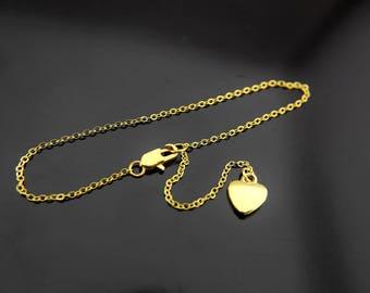 Heart Bracelet, Gold Heart Charm Bracelets, Heart Charms, Simple Gold Bracelet, Gifts for Wife, Adjustable Bracelet, Personalized Bracelet