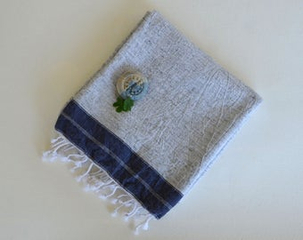 Beach Towel - Gray and Navy - Turkish Bath Towel - Turkish Blanket -Peshtemal -  Cotton Woven Pure Soft and Light - Groom gift