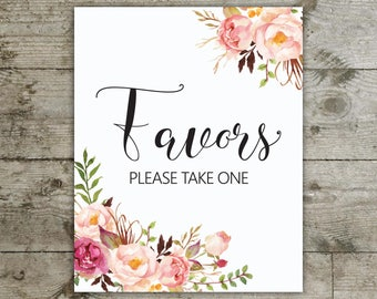 Favors please take one, Favors sign, Favors peony sign, Bridal shower, Baby shower, Peony table sign, floral table sign