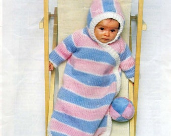 PDF Knitting Pattern- baby sleeping bag- 25.5 long can be made longer to suit- 6mm needles needed