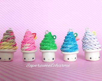 Polymer Clay Frozen Yogurts / Strawberry, Kiwi, Banana, Blueberry, Rainbow