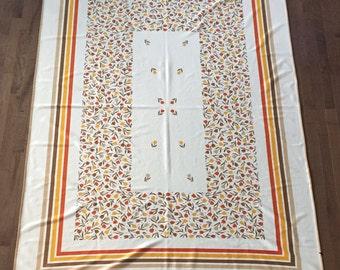 Vintage 1970's Floral Tulip Rectangular Table cloth