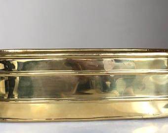 Vintage Solid Brass Oblong Planter.