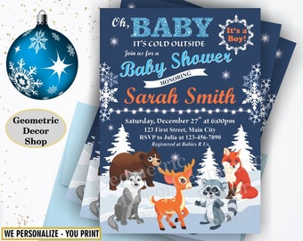 Oh Baby Shower Invitation Oh Baby it's cold outside Baby Shower Invite winter blue fox bear deer raccoon wolf rustic woodland snowflake BSW3