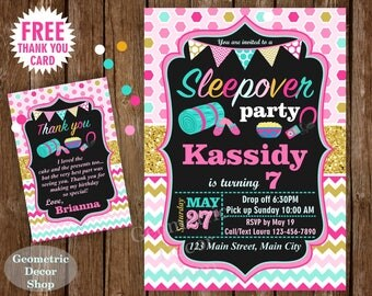 Sleep over Birthday Invitation / Sleepover / Girl Invitations / Invite / Slumber Party / Invites Photo Photograph Gold Aqua Pink Teal BSO11