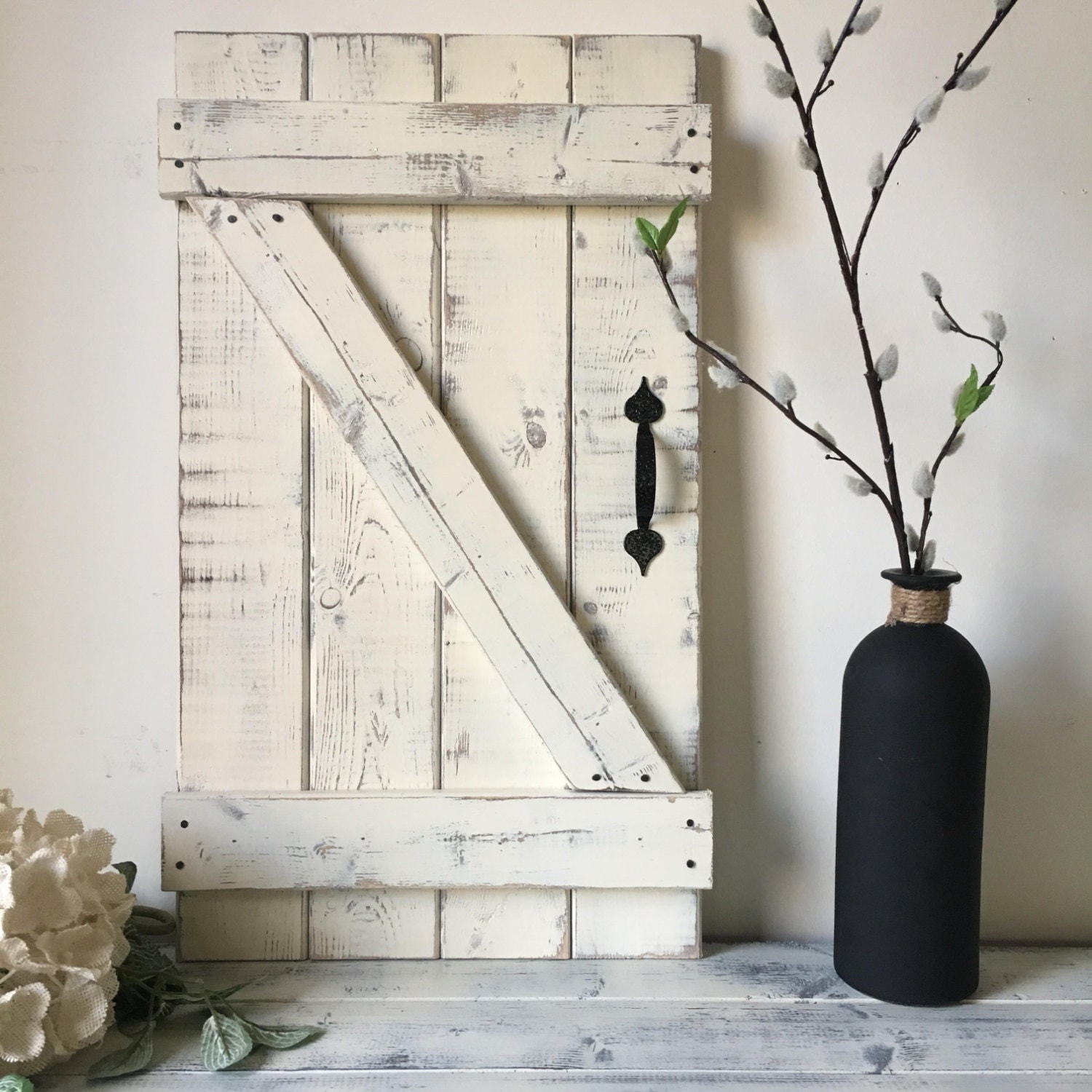 Mini barn door wall hanging wood shutters barn door decor for Wall hanging