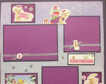 CHRISTMAS BEARS Premade 12x12 scrapbook page