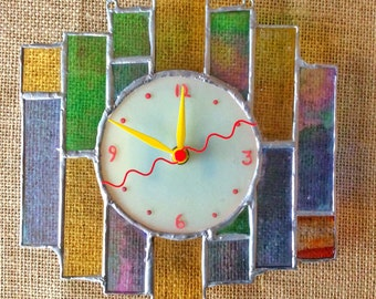 Art Deco Fusion #2 fused and stained glass wall clock