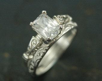 Silver Bridal Set-Eve Engagement Set-Emerald Cut Solitaire-Cubic Zirconia Engagement Ring-Emerald Cut Engagement Ring-Silver Engagement Ring