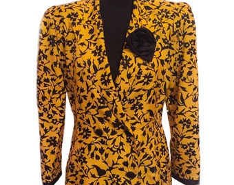 Yellow and Black Floral Jacket